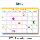 Calendario Multicolor - Junio 2018