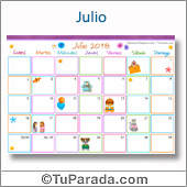 Calendario Multicolor - Julio 2018