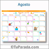 Calendario Multicolor - Agosto 2018