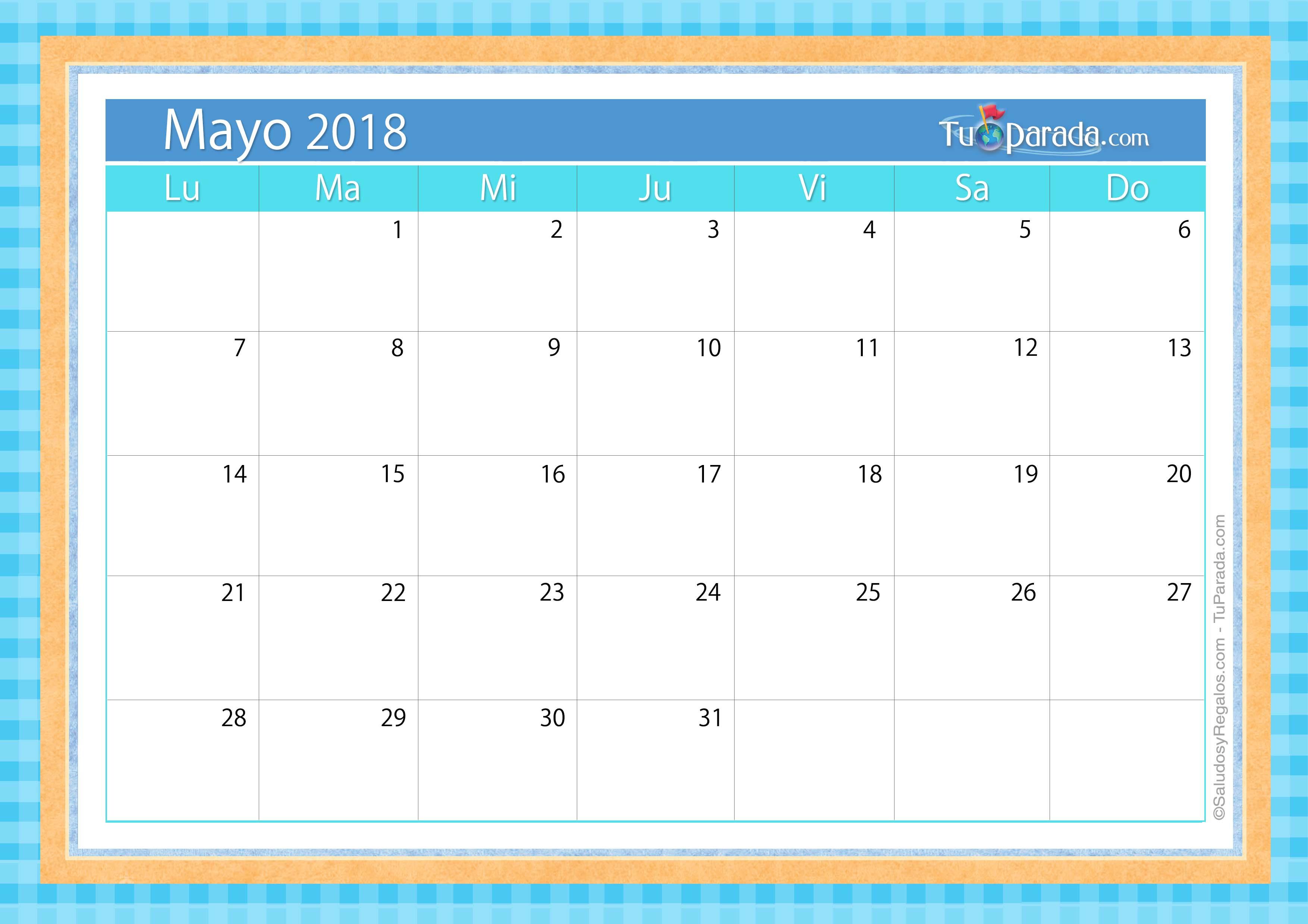 Calendario deco mayo 2018 calendario deco 2018 tarjetas for Almanaque de pared 2018