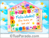 Parabéns em envelope com flores