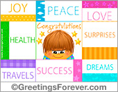 Greeting ecards: For your birthday: Joy, peace, love