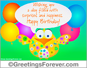 Greeting ecards: Happy birthday greeting with funny bird