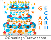 Greeting ecards: Giant ecard for birthday in blue