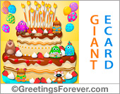 Greeting ecards: Giant birthday cake ecard