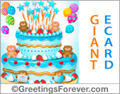 Greeting ecards: Giant cake with bears for a boy