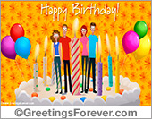 Ecards for children - Greeting ecards: Birthday cake with greetings