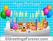 Ecards for children - Greeting ecards: Congratulations with cake and friends