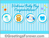 Welcome baby boy ecard