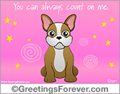 Greeting ecards: eCard in pink with little dog
