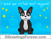 Greeting ecards: Blue ecard with little dog