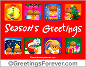 Seasons Greetings in red