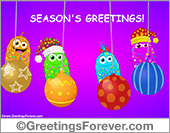 Seasons Greetings with Christmas ornaments