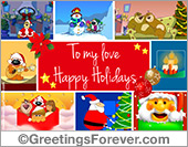 Greeting ecards: Happy Holidays to my love