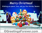 Greeting ecards: Merry Christmas with little bears