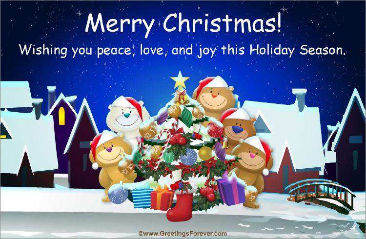 Ecard - Merry Christmas with little bears