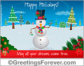 Greeting ecards: Happy holidays with snowman