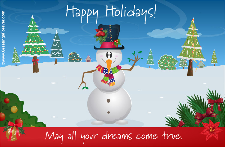 Ecard - Happy holidays with snowman