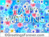 Wedding ecards - Greeting ecards: Happy Wedding with flowers