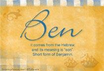 Name Ben
