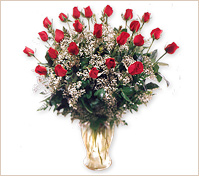 Veinticuatro rosas rojas en florero