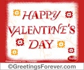 Valentines Day ecard in red