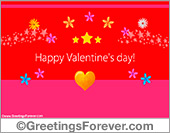 Happy Valentines day ecard in red