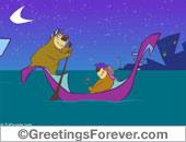 Greeting ecards: Happy Valentines Day in a gondola