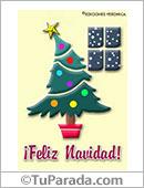 Humor de fin de año - Tarjetas postales: Feliz Navidad con árbol inclinado