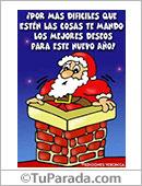 Humor de fin de año - Tarjetas postales: Los mejores deseos con Papá Noel en chimenea