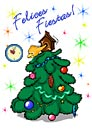 Tarjetas postales: Felices fiestas con árbol y reloj
