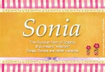 Name Sonia