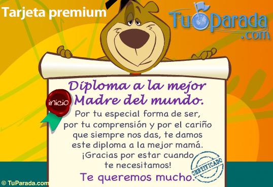 Tarjeta - Diploma a la mejor madre del mundo