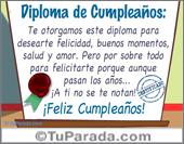 Tarjeta - Diploma de cumpleaños