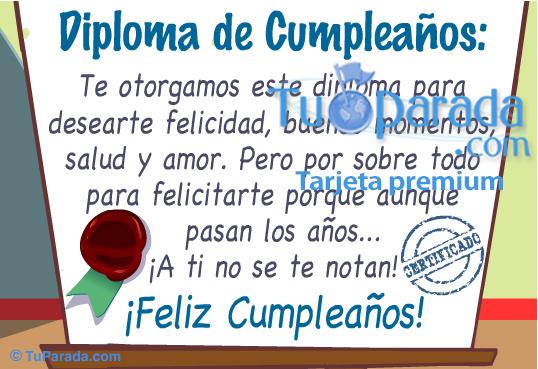 Diploma de cumpleaños