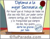 Tarjeta - Diploma a la mejor secretaria