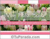 Bodas - Tarjetas postales: Tarjeta de bodas con flores blancas