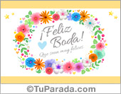 Tarjeta de Feliz Boda con flores