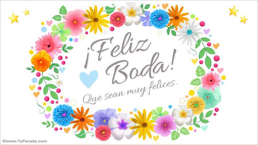 Tarjeta de Feliz Boda con flores, Bodas, tarjetas