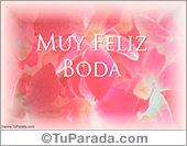 Bodas - Tarjetas postales: Muy feliz boda en rosa
