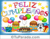 Cumpleaños - Tarjetas postales: Feliz cumpleaños con festejo, globos y gordis