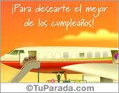 Cumpleaños - Tarjetas postales: Tarjeta de avión para cumpleaños