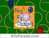 Tarjeta - Cumpleaños con torta y globos