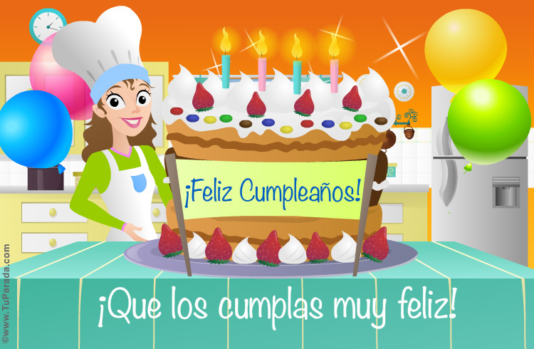 Tarjeta - Torta de cumpleaños