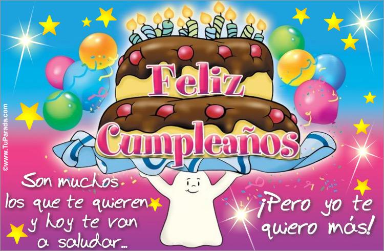 Tarjeta de felicidades con torta