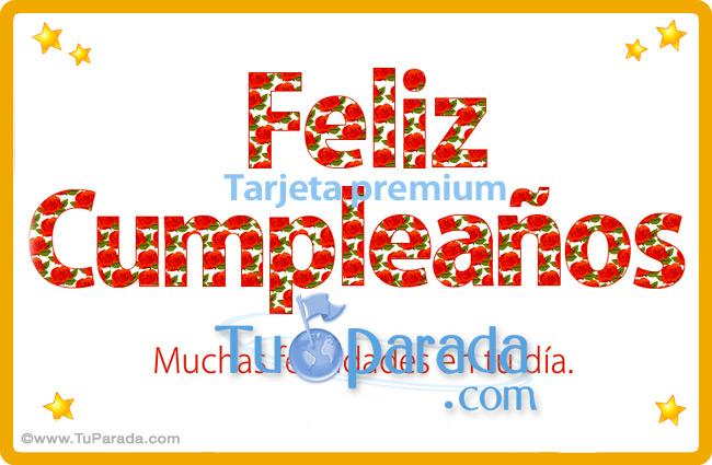 Tarjeta - Tarjeta de Feliz Cumpleaños con flores
