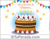 Cumpleaños para amigos - Tarjetas postales: Tarjeta de torta de cumpleaños