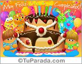 Cumpleaños - Tarjetas postales: Tarjeta de cumpleaños con gran torta