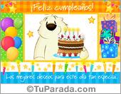 Tarjeta - Tarjeta de cumpleaños colorida con torta