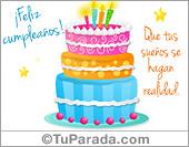 Tarjetas postales: Postal de cumpleaños con torta pastel